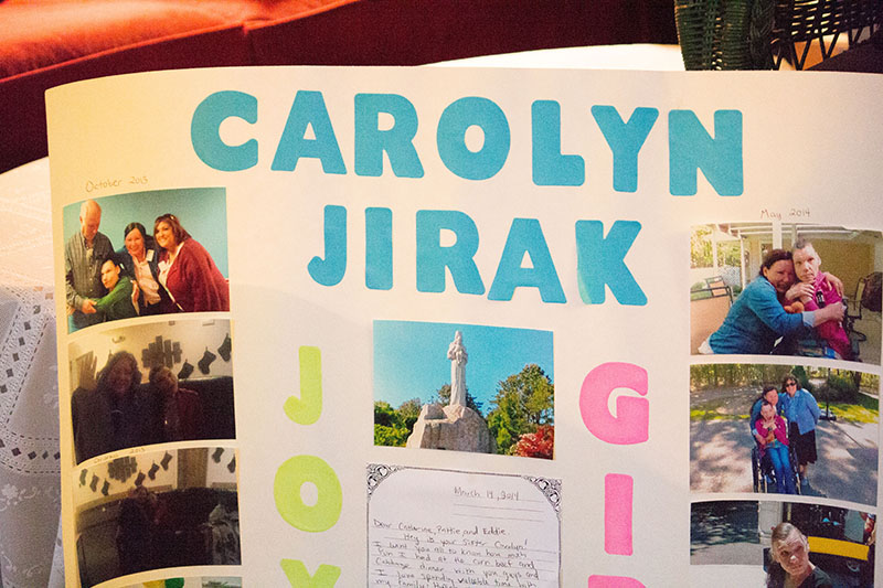 A display of photos of Carolyn Jirak that the Jirak family created for her family. Photo by Arielle Martinez.
