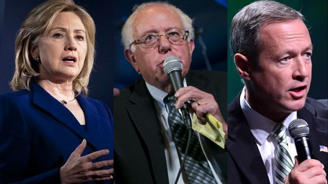 From left to right: Hillary Clinton, Bernie Sanders, and Martin O'Malley,