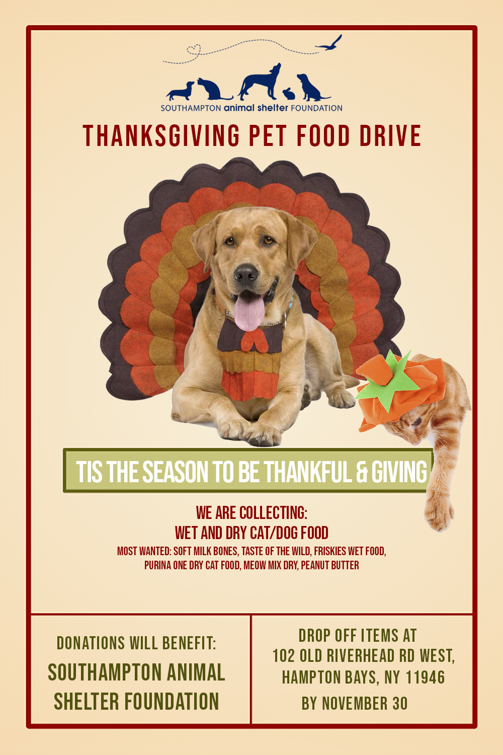 THANKSGIVING PET FOOD DRIVE
