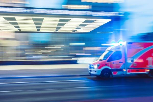 Ambulance Speeding to Hospital - Cropped